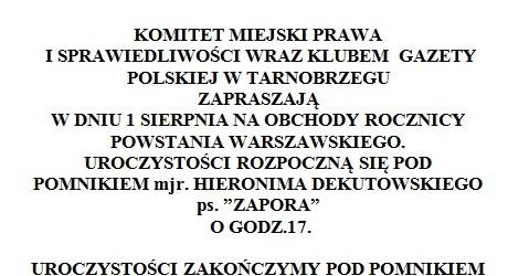 Tarnobrzeg – Obchody Rocznicy Powstania Warszawskiego, 1 sierpnia, g. 17.