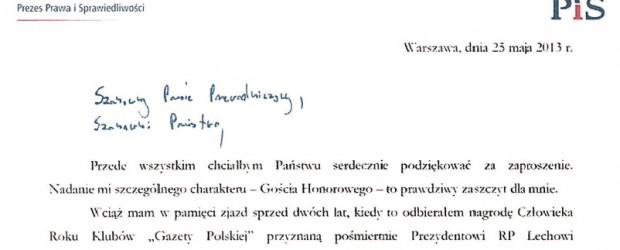 """List Jarosława Kaczyńskiego do Klubów """"GP"""""""