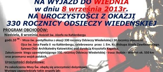 Wodzisław Śl. – 330 rocznica Odsieczy Wiedeńskiej, wyjazd do Wiednia 8 września…