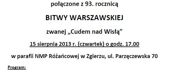 Zgierz – uroczyste obchody Święta WNMP połączone z 93. Rocznicą Bitwy Warszawskiej…