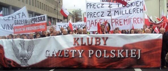 Protest NSZZ Solidarność i innych central związkowych przeciwko rządom PO 14.09.2013 r. w Warszawie