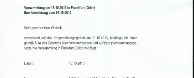 Potwierdzenie zgłoszenia demonstracji – 18.10.2013 r.
