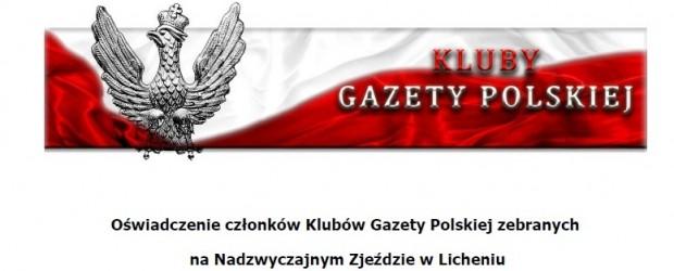 Oświadczenie członków Klubów Gazety Polskiej zebranych na Nadzwyczajnym Zjeździe w Licheniu