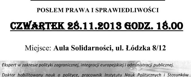 Częstochowa – spotkanie z prof. Krzysztofem Szczerskim, 28 listopada, g. 18, Aula Solidarności.