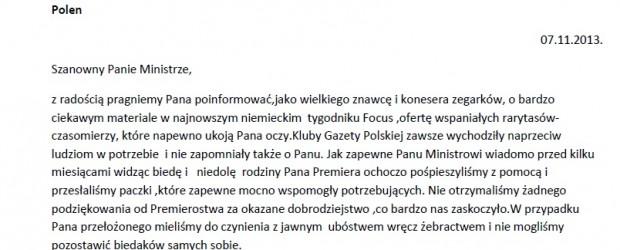 Pan minister Sławomir Nowak i zegarki w tygodniku Focus