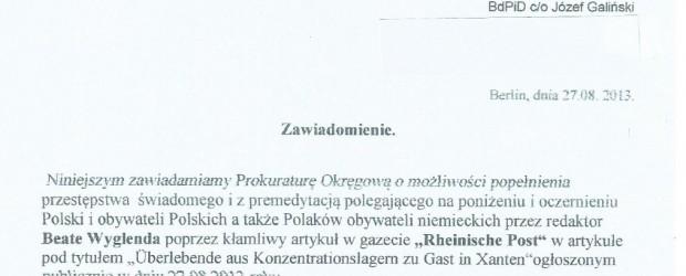 Postanowienie prokuratury rejonowej Warszawa-Mokotów