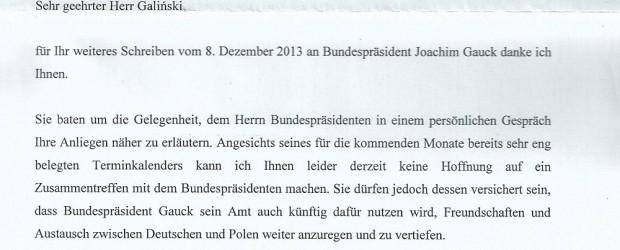 Prezydent Joachim Gauck ponownie odpowiada