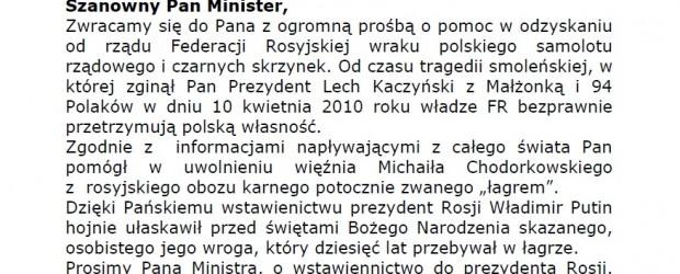 """Kluby """"Gazety Polskiej"""" upominają się o wrak Tu-154M i proszą o pomoc międzynarodową"""