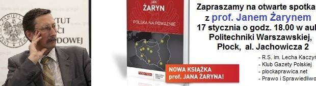 Płock –  spotkanie z prof. Janem Żarynem, 17 stycznia, g. 18