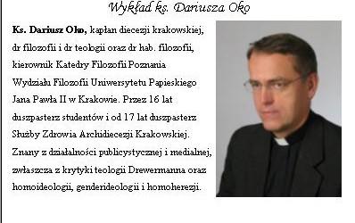 """Pszczyna – wykład ks. Dariusza Oko nt."""" Gender-od tolerancji do totalitaryzmu"""", 28 stycznia, g. 17,"""
