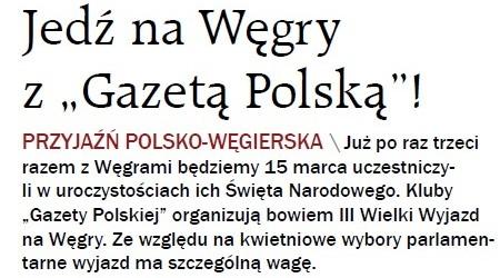 """GPC – Jedź na Węgry z """"Gazetą Polską""""!"""