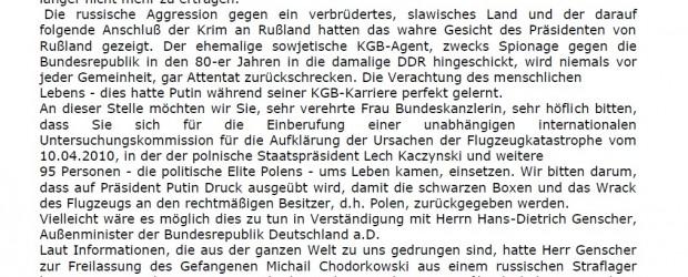 """Petycja Klubów """"GP"""" z Berlina do pani Kanclerz dr Angeli Merkel"""