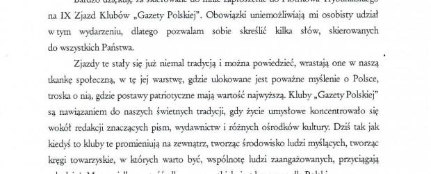 """[List]Jarosław Kaczyński do Klubów """"GP"""": Jesteście ważną częścią naszej wspólnej misji"""