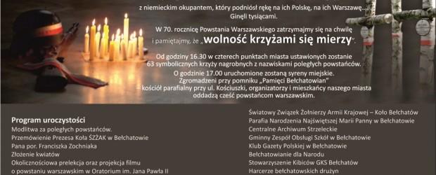 Bełchatów – obchody 70 rocznicy wybuchu Powstania Warszawskiego, 1 sierpnia, g. 16.30