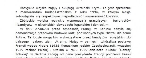 Berlin II, Berlin-Brandenburg – Petycja do Ambasadora Maurice Gourdault-Montagne