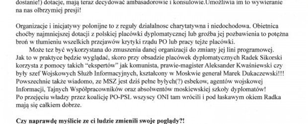 """Biuletyn Klubu """"Gazety Polskiej"""" w Toronto rozprowadzany wśród Polonii."""