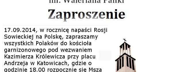Katowice-Koszutka:  Msza Św. w intencji Obrońców Ojczyzny, 17 września