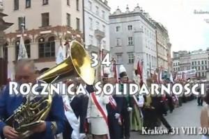 34 Rocznica Solidarności. Uroczystości w Krakowie.(wideo)