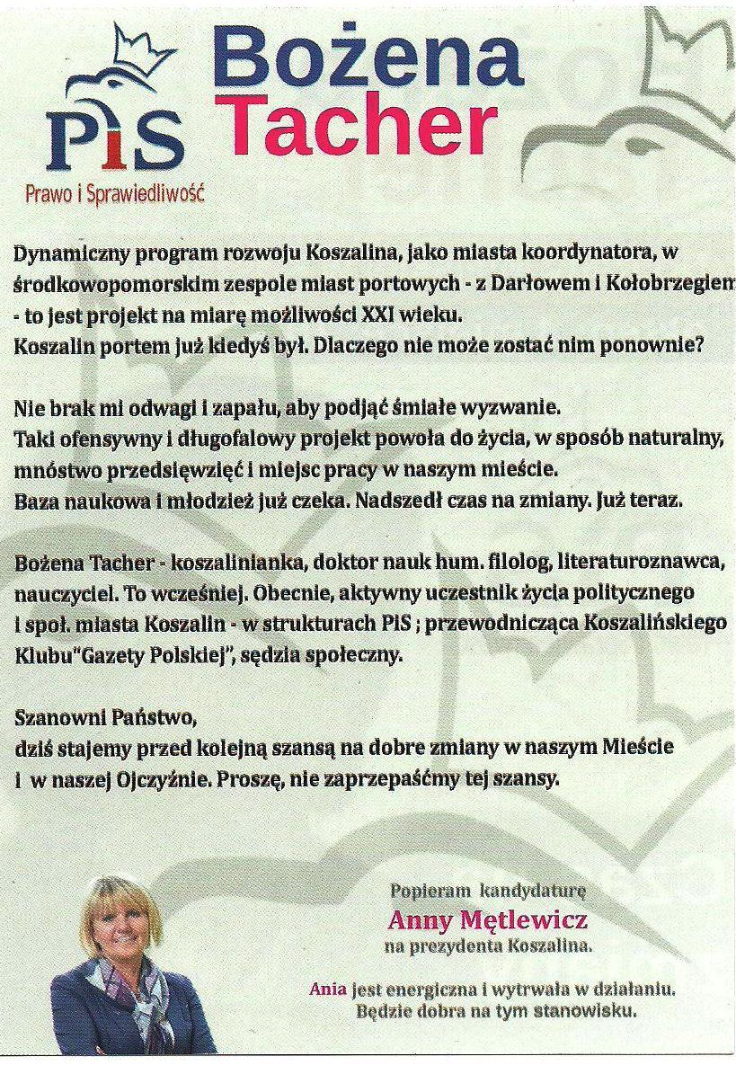 Koszalin_B. Tacher wybory2014