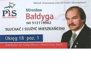 [Wodzisław Śl.] Mirosław Bałdyga – kandydat do Rady Miasta