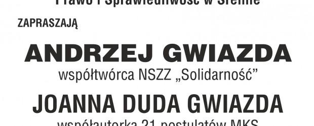 """Śrem – spotkanie z Joanną i Andrzejem Gwiazdami nt. """" Geneza NSZZ Solidarność"""", 4 marca"""