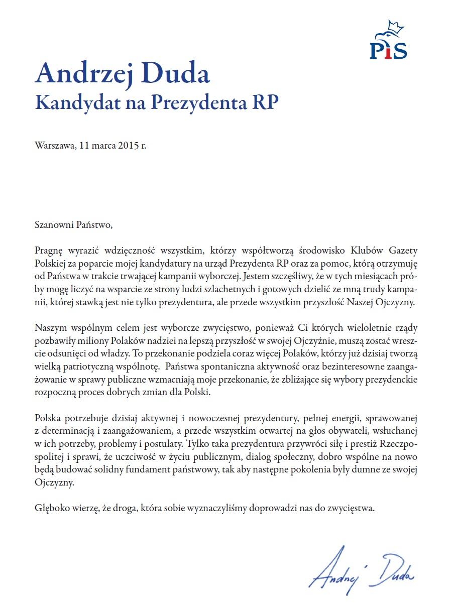 Duda Andrzej list