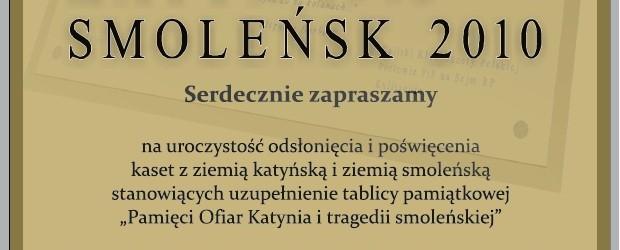 Kalisz – uroczystość odsłonięcie i poświęcenia kaset z ziemią katyńską i ziemią smoleńską, 9-10 kwietnia