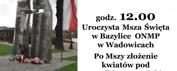 Wadowice – V rocznica tragedii smoleńskiej, 12 kwietnia
