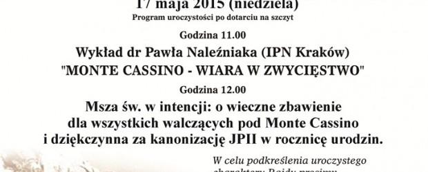 Kęty – II Ogólnopolski Gwiaździsty Rajd Środowisk Patriotycznych na Groń Jana Pawła II w 71. rocznicę bitwy pod Monte Cassino, 17 maja