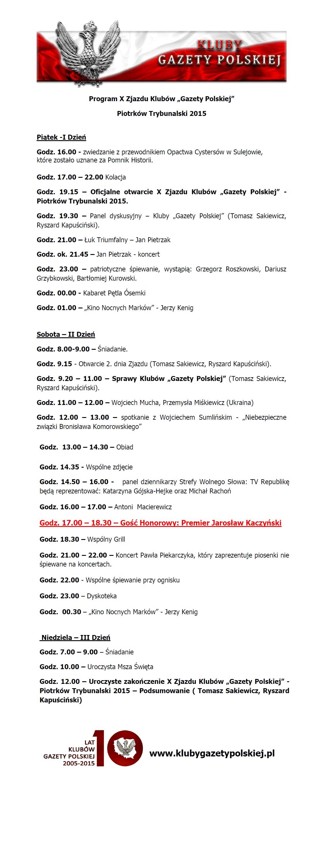 Program X Zjazdu Klubów Gazety Polskiej