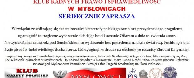Mysłowice –  obchody upamiętniające szóstą rocznicą tragedii smoleńskiej, 10 kwietnia