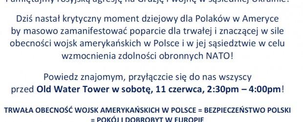 Chicago – manifestacja o Wsparcie Bezpieczeństwa Polski i Europy Wschodniej, 11 czerwca, g. 2.30PM-4.00PM