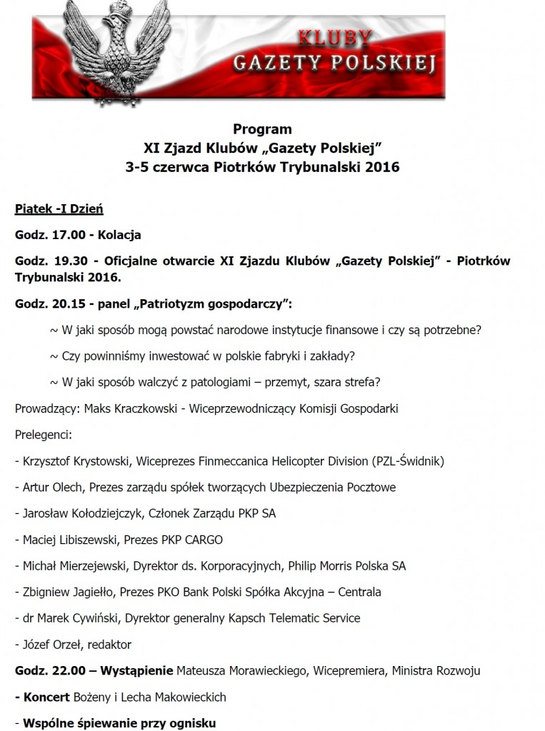XI Zjazd program