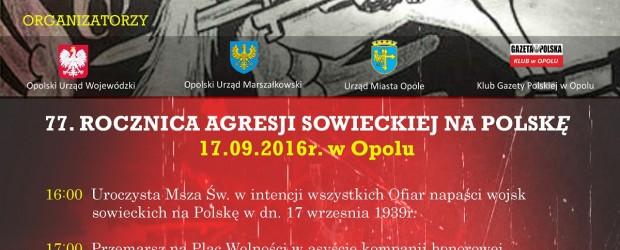 Opole – uroczystości uczczenia Ofiar napaści wojsk sowieckich na Polskę, 17 września, g. 16