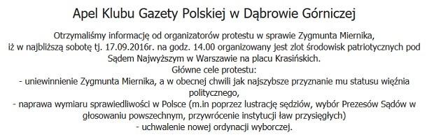 Apel Klubu Gazety Polskiej w Dąbrowie Górniczej ws. zlotu środowisk patriotycznych 17.09.2016r. Warszawa, Miasteczko Namiotowe pod Sądem Najwyższym