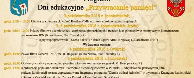 """Pułtusk – uroczyste obchody 70. Rocznicy rozbicia więzienia w Pułtusku, 3-9 października, Dni edukacyjne """"Przywracanie pamięci"""""""