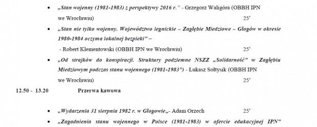 """Głogów – Obchody 35 rocznicy wprowadzenia stanu wojennego, Konferencja """"Stan wojenny w Zagłębiu Miedziowym(1981-1983), 12 grudnia"""