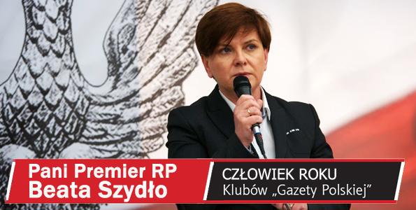 """Premier Beata Szydło Człowiekiem Roku Klubów """"Gazety Polskiej"""" 2016"""