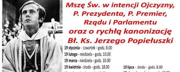 Kęty – Msze św. w intencji Ojczyzny, Prezydenta, Premier, Rządu, Parlamentu oraz o rychłą kanonizację Bł. Ks. Jerzego Popiełuszki