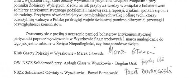 Wyszków: pismo do Burmistrza w sprawie wywieszenia flag w Święto 1 marca