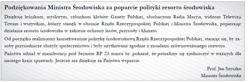 Podziekowanie J Szyszko