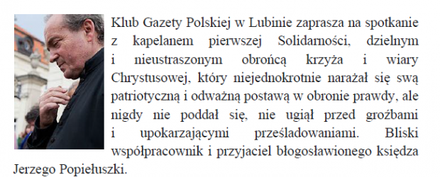 Lubin – Zaproszenie na spotkanie z księdzem Stanisławem Małkowskim