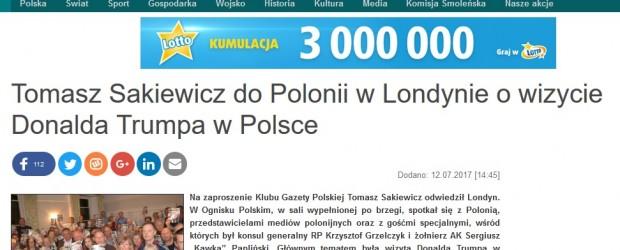 Tomasz Sakiewicz do Polonii w Londynie o wizycie Donalda Trumpa w Polsce