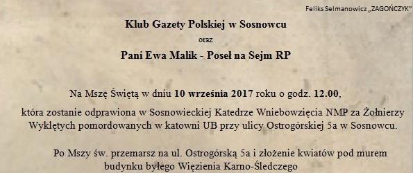 Sosnowiec: Uczczenie ofiar sosnowieckiej katowni UB, 10 września