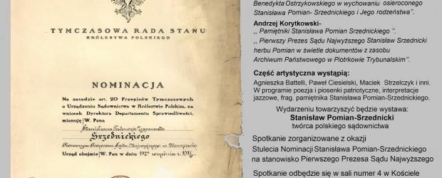 """Kraków-Nowa Huta – spotkanie poświęcone """"Stanisławowi Pomian-Srzednickiemu – twórcy polskiego sądownictwa"""", 30 września"""