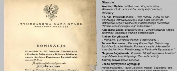 """Łowicz – konferencja """"Stanisław Pomian-Srzednicki – twórca polskiego sądownictwa"""", 27 września"""