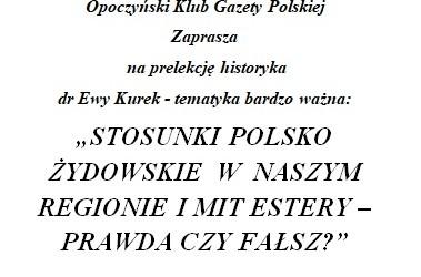 Opoczno – prelekcja Ewy Kurek, 15 września