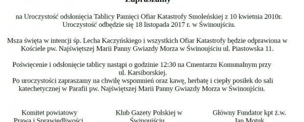 Świnoujście: uroczystość odsłonięcia Tablicy Pamięci Ofiar Katastrofy Smoleńskiej, 18 listopada