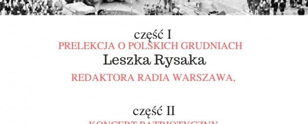 """Warszawa Bielany-Żoliborz –  wieczór wspomnień i pamięci pt.""""Polskie GRUDNIE"""",  21 grudnia"""