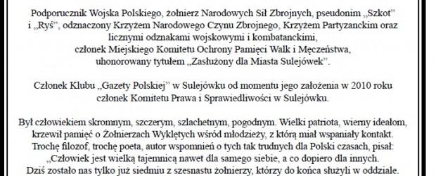 Sulejówek: Rok temu, 23 stycznia 2017 roku, zmarł w wieku 88 lat  RYSZARD MIKOŁAJCZUK